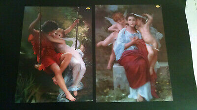 Two Vintage 3D Lenticular Pictures Classic Art Angels and Lovers
