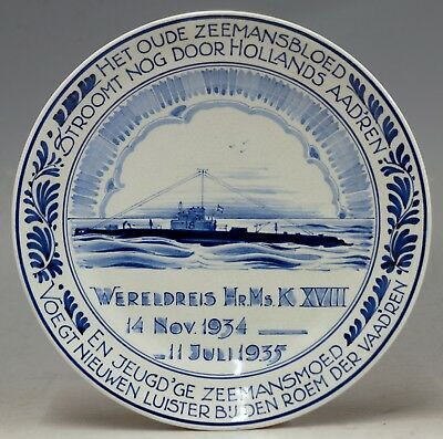 Delft @ Perfect @ Porceleyne Fles Handpainted Delft Plate Worldjourney Submarine 1935 Pottery & China