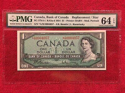 Bank of Canada BC-37bA-i  1954 1 Dollar Replacement/Star *AM PMG 64EPQ 8K Print