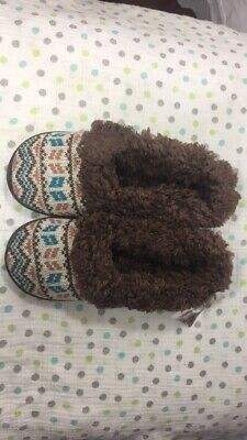 Muk Luks Knit Clog Slippers Women's Size M (7-8) Brown Multicolor