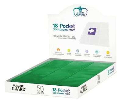Ultimate Guard 18-Pocket Pages Side-Loading Green (50) Ultimate Guard NUOVO