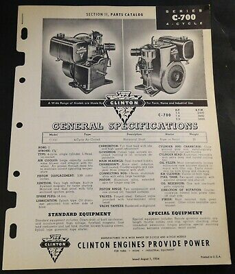 August 1954 Clinton Engines C-700 4 Cycle Specifications & Parts Manual (208)