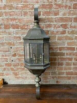 """Antique Vintage Ornate Large Brass Sconce Light Outdoor Building 39"""" Tall (A)"""