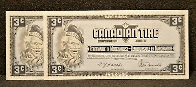 Canadian Tire Money Consecutive Pair 3 cent Notes CTCS-4A in UNC Condition