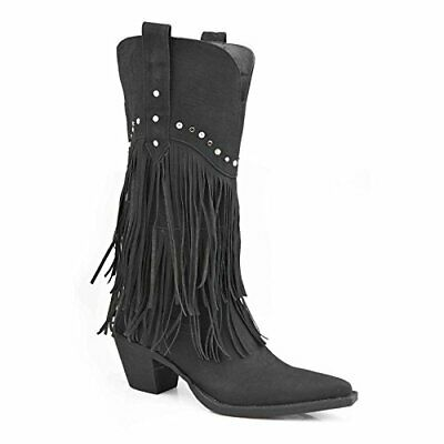 9029f4b2b08 ROPER WOMEN'S FRINGE and Stud Western Boot Black/Crystal Stud 7.5 B ...