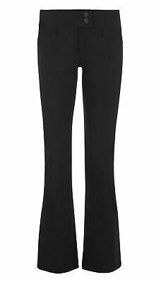 Girls Plain 2Button Bootleg Pants Ladies Skinny Stretchy Fit Office Work Trouser