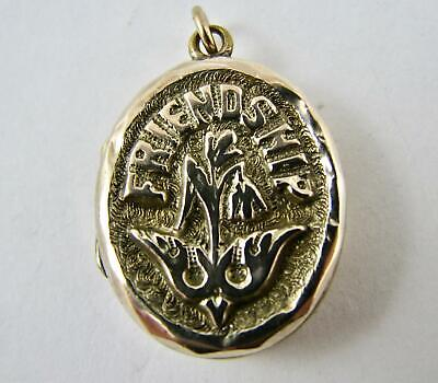 Antique Victorian Yellow Gold Filled Small Locket Charm Marked FRIENDSHIP VGC