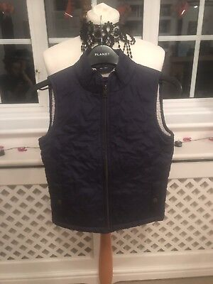Girls Navy Gillet Sleeveless Coat By Gap Age 8/9 Years With Fleece Fur Lining