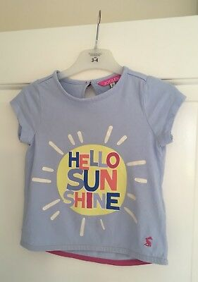 Joules Pixie Sky Blue Hello Sunshine 100% Cotton Girls T-Shirt - 4 Years. VGC