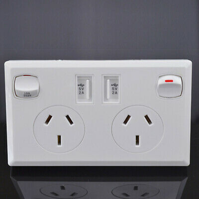 Dual 2 USB Port Wall Socket Charger AU Power Receptacle Outlet Plate Panel New