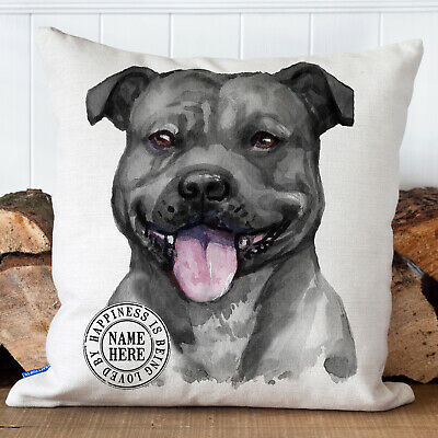 Personalised STAFFORDSHIRE BULL TERRIER Dog Cushion Cover Pet Name Home  KDC32