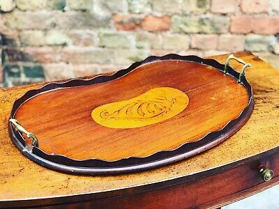 Antique Mahogany Tray With Marquetry Inlay Of A Shell