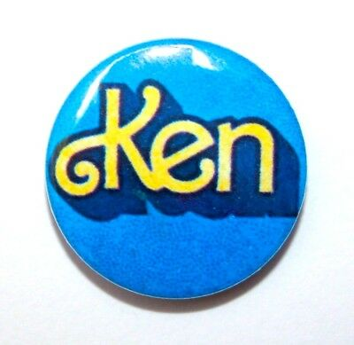 Vintage Style Blue Barbie And Ken Doll Logo Button Pin Badge