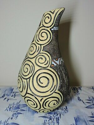 Ceramic Clay Vase is covered with glaze Handmade Original Ornament