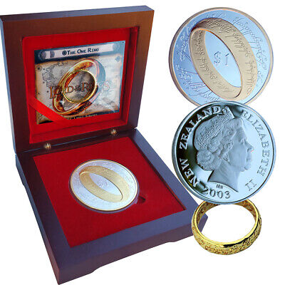 2003 LOTR $1 NZ coin and Hobbit Ring Silver Gold Rosewood Box Lord of the Rings