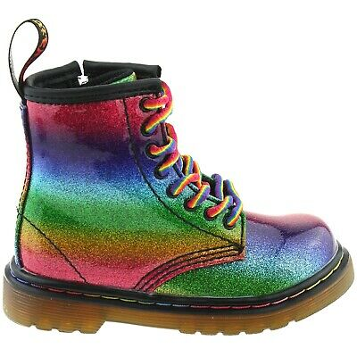 8624772b2c5b Girls Infants Dr Martens 1460 Ombre Glitter I Rainbow 8 Eyelet Boots  24836980