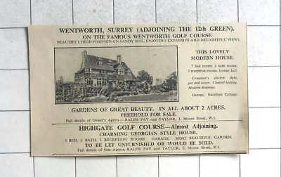 1936 7 Bed House Adjoining 12th Green Wentworth Golf Course For Sale