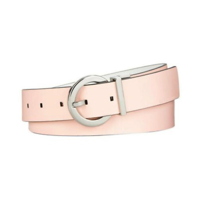 Calvin Klein Jeans Round Buckle Pink White Reversible Leather Belt
