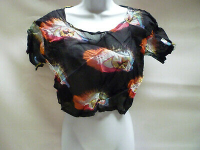 UK 10 Motel Rocks Lolita Crop Top Exposted Back Bnwt New Size S