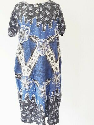 Batik Blue Black Shortsleeve Kaftan Dress One Size Made In Indonesia New Va144-3