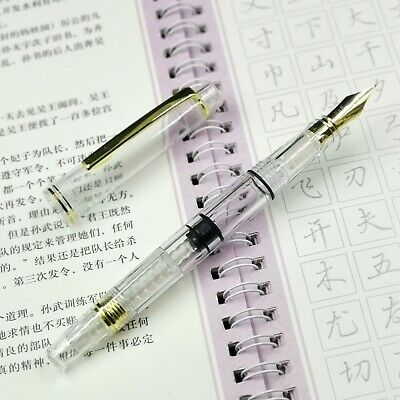 Wing Sung Clear Transparent Demonstrator Piston Fountain Pen Fine golden clip