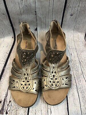 c6cab00faf EARTH ORIGINS KINGSLEY WOMEN 9.5M Pewter LEATHER GLADIATOR STRAPPY WEDGE  SANDALS