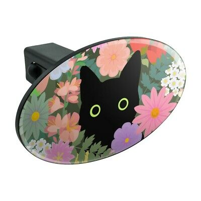 Graphics and More Black Cat Hiding in Spring Flowers Tow Trailer Hitch Cover Plug Insert 2