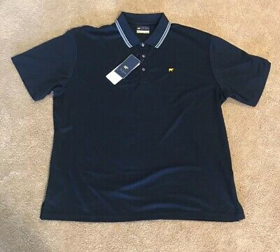 b2e254353 JACK NICKLAUS GOLDEN Bear StayDri Moisture Navy Blue Golf Polo Shirt ...