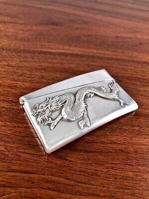 Detailed Cj & Co. Chinese Export Sterling Silver Card Case W/ Figural Dragon