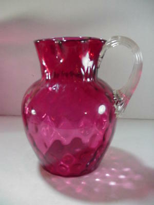 Fenton Art Glass: Cranberry Pitcher Inverted Thumbprint Coin Dot Reed Handle