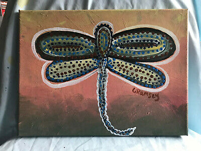 """Dragonfly 9""""x12"""" original painting canvas"""