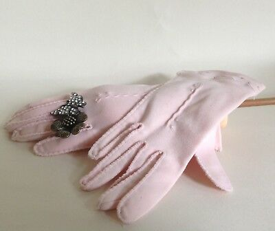 Vintage 1950s Baby Pink Cotton 10 Inch Dress Evening Church Gloves Size 6 Small
