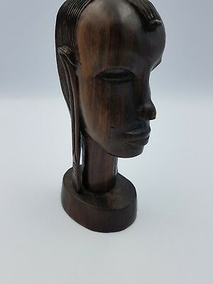 African Tribal Art Wooden Hand Carved Female Head Bust Sculpture Ornament Heavy