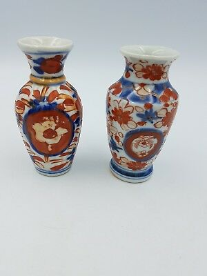 Antique Chinese Japanese Imari Small Porcelain Vases Hand Painted Floral - Pair
