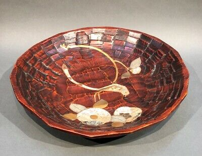 Antique Japanese Wood Carving of Plate With Makie & Shell