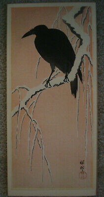 Rare Ohara Koson Shoson Original Japanese Color Woodblock Print, Crow on Branch