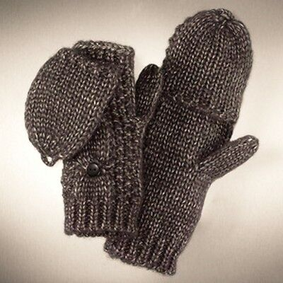 Simply Vera Wang Silver Gray Cable Knit Convertible Fingerless Flap Mittens