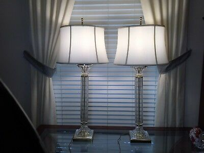 """37.5""""Tall Pair Of Vintage Clear Crystal & Brass Metal Table Lamps w/White Shades"""