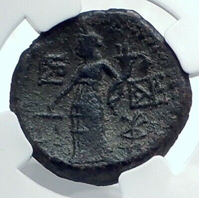 KATANE SICILY Authentic Ancient 200BC RARE R1 Greek Coin Zeus Ammon NGC i77655