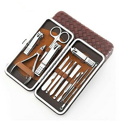 French Manicure Set Ladies Leather Case Pedicure Kit Toe Nail Clippers for Men