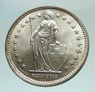 1963 SWITZERLAND - SILVER 2 Francs Coin HELVETIA Symbolizes SWISS Nation i77005