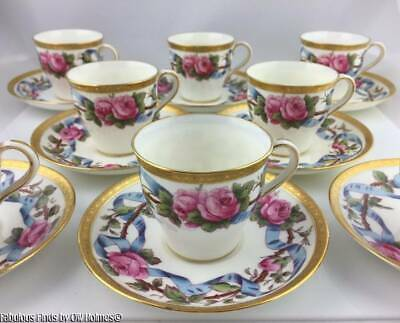 8 Antique Mintons Demitasse Coffee Cups & Saucers RAISED GOLD and ROSES