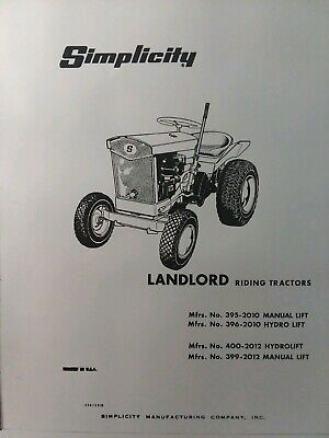 simplicity landlord 2010 & 2012 lawn riding garden tractor owner & parts  manual