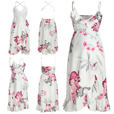 Fashion Women Mother Casual Floral Falbala Pregnant Dress Maternity Clothes