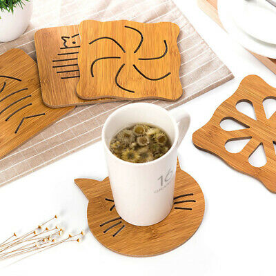 Drink Coaster Wooden Tea Coffee Cup Tableware Pad Hollow Pattern Table Protector