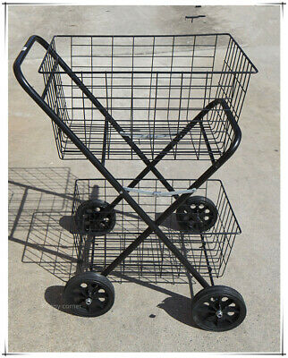 Collapsible Shopping Trolley Double Basket with Wheel Shop Cart 2 Tier