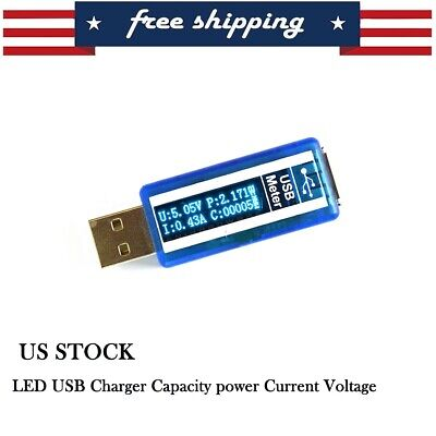 LCD USB Current Voltage Detector Charger Capacity Tester Meter Power