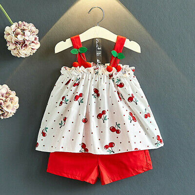 Toddler Kids Baby Girls Outfits Cherry Print T-shirt Vest Top+Shorts Set
