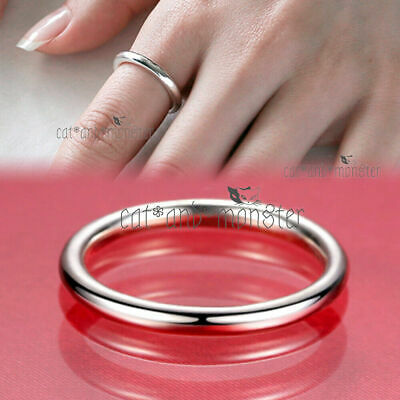 Genuine 925 Sterling Silver Solid 1mm Classic Plain Band Wedding Ring lady gift