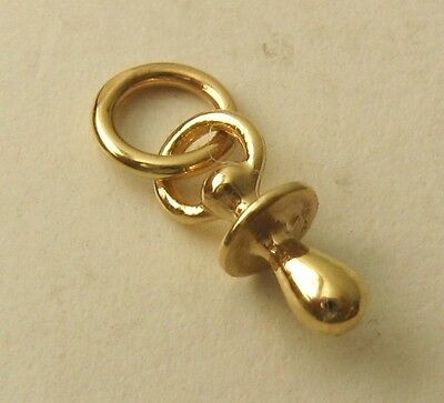 SOLID 9K 9ct Yellow Gold 3D BABY DUMMY Charm Pendant